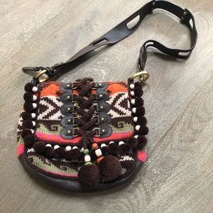 Isabella FIORE Aztec Knit Pom-Pom Bag Purse